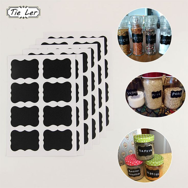 TIE LER 48PCS/Set Blackboard Sticker Craft Kitchen Jar Organizer Labels Chalkboard Chalk Board Stickers Black