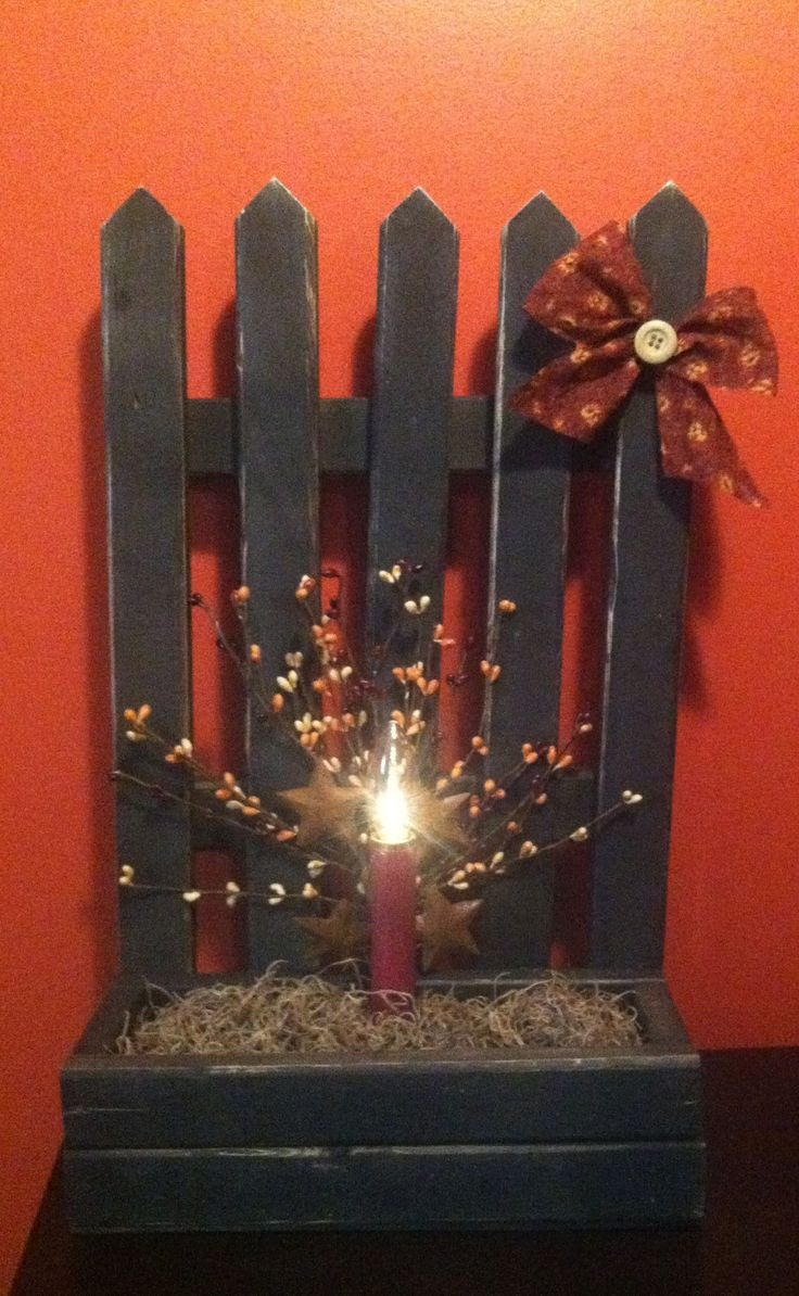 Primitive fall wood crafts - Primitive Picket Fence I Made Primitive Candlesprimitive Fallprimitive Craftscountry Primitivewood