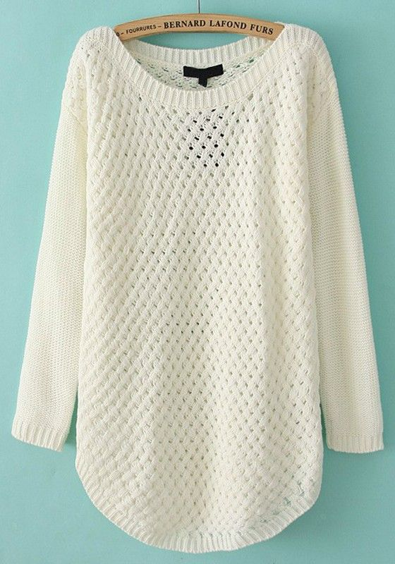 White Hollow-out Irregular Round Neck Acrylic Sweater. This website has so many cute sweaters!!