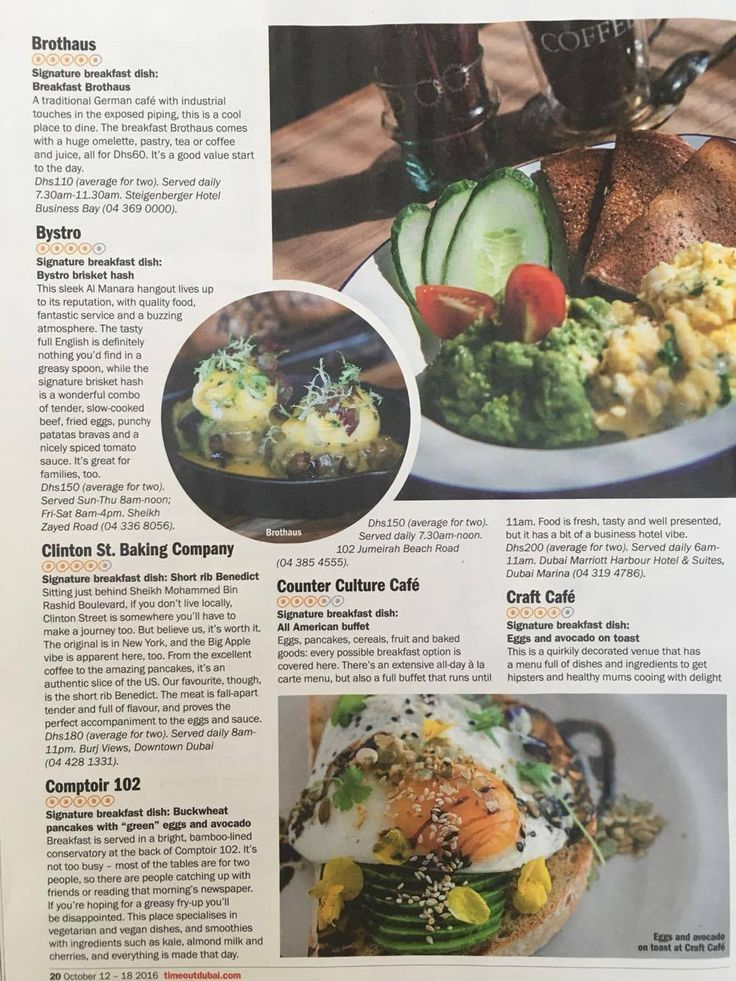 TimeOut October 2016: Dubai tastiest Breakfasts