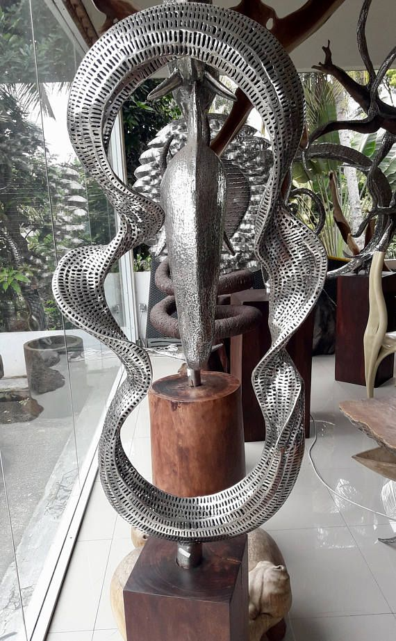 Contemporary Huge Stainless Steel Bali Sculpture Fine Art