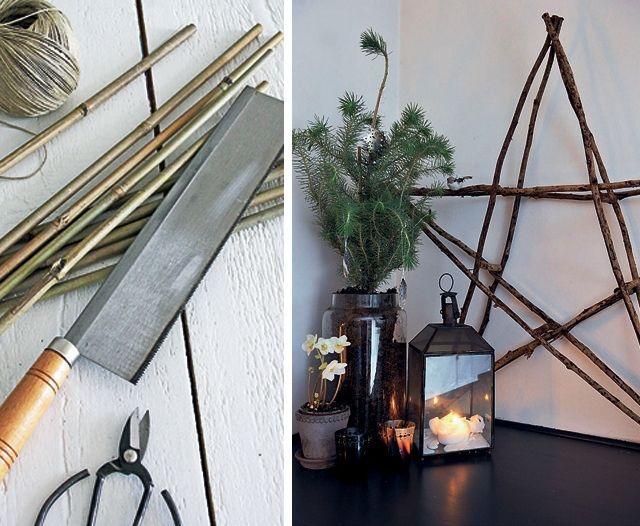 vánoční hvězda, vánoční dekorace návod, vánoční ozdoba, stromeček z větviček, bambusová hvězda, bambudové tyče, bambus, bambusové tyče návod,,  praktická žena