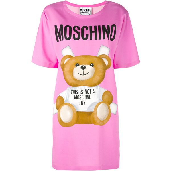 Moschino toy bear print t-shirt dress ($1,050) ❤ liked on Polyvore featuring dresses, pink, tee shirt dress, round neck dress, pink dress, tee dress and pink t shirt dress