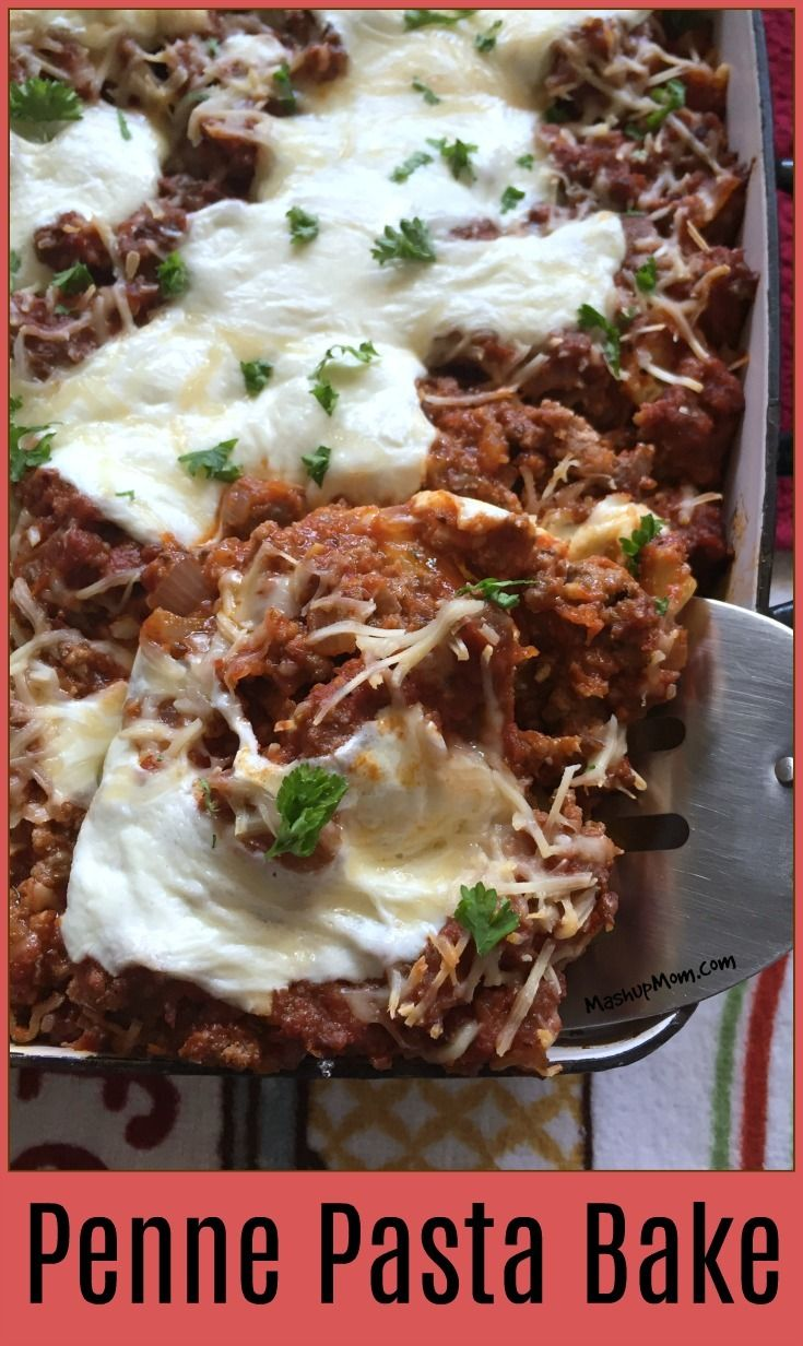 Easy Penne Pasta Bake is an easy comfort food dinner recipe. This cheese-filled baked pasta is like lasagna... but not quite! http://www.mashupmom.com/easy-penne-pasta-bake/