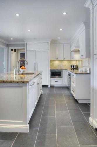Kitchen With Grey Tile Floor
