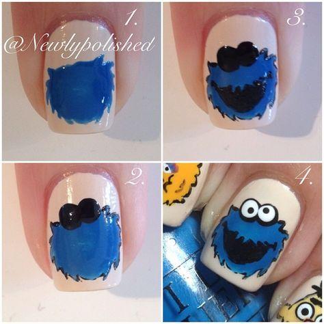Cookie Monster ... Nail Art Design Tutorial