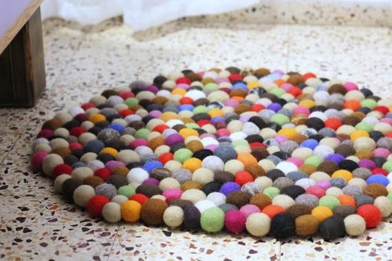 Felt Pom Rug Wool Carpet With