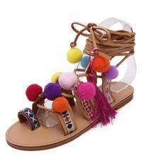 Sandálias romanas China Bordado Pompom Joelho Alto Sandálias de Tiras de Verão Novas Mulheres borla Sandálias Gladiador de Couro Sapatos de Mulher alishoppbrasil