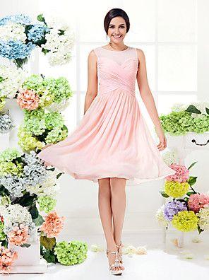 A-Line Jewel Neck Knee-längd chiffongräkt med drapering / samling från LAN TING BRIDE®