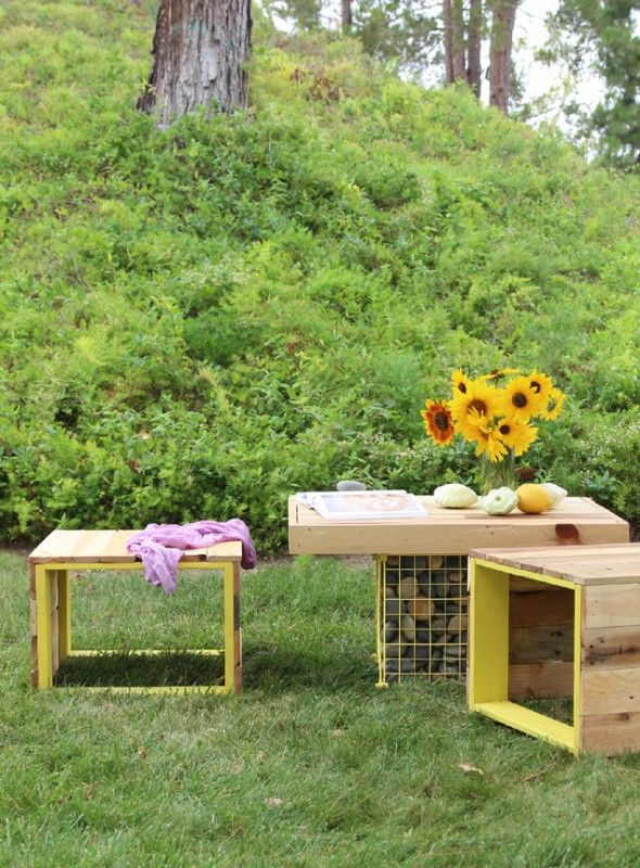 pallet wood upcycled metal cage garden furniture - Garden Furniture Crates