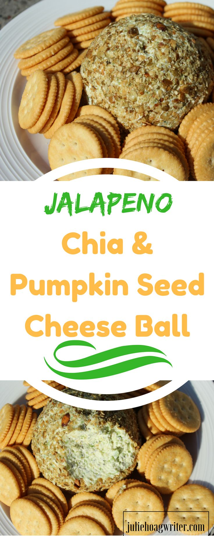 Jalapeno Chia and Pumpkin Seed Cheese Ball Appetizer recipe for a party | appetizers for a party | appetizers easy | appetizers for a crowd | appetizers recipes easy | Christmas appetizers | appetizers easy finger foods | recipe for appetizers | recipe for appetizers finger foods | New Years Eve appetizers finger foods | Thanksgiving appetizer ideas | holiday entertaining | vegetarian appetizer | vegetarian recipes | party food | party menu ideas | chia seed recipes @juliehoagwriter.com