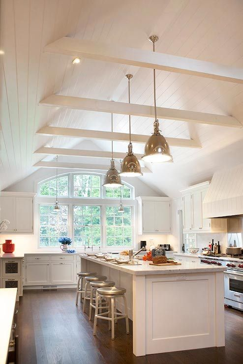 Classic White Kitchen Wcathedral Ceiling Kitchen Design In 2019