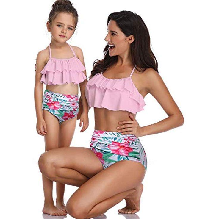 AIDEAONE Mutter Tochter Badeanzug Damen Mädchen Neckholder High Waist Bikini …  – Mädchen