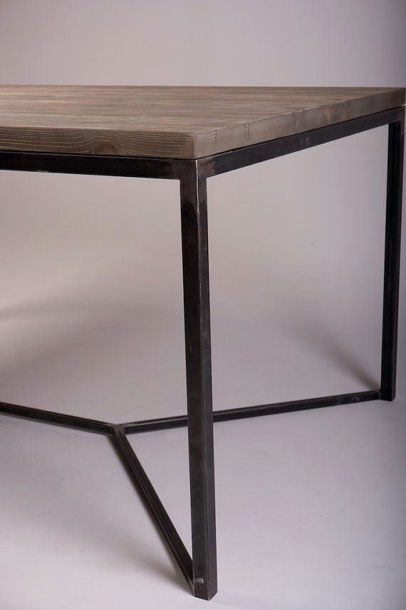 Solid Industrial Dining Table With V Framed Steel Legs