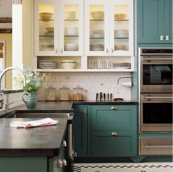 Blue Green Kitchens Clic Kitchen With Cabinets Bh G Via Atticmag For The Home In 2019 Cabinet Colors Two Tone