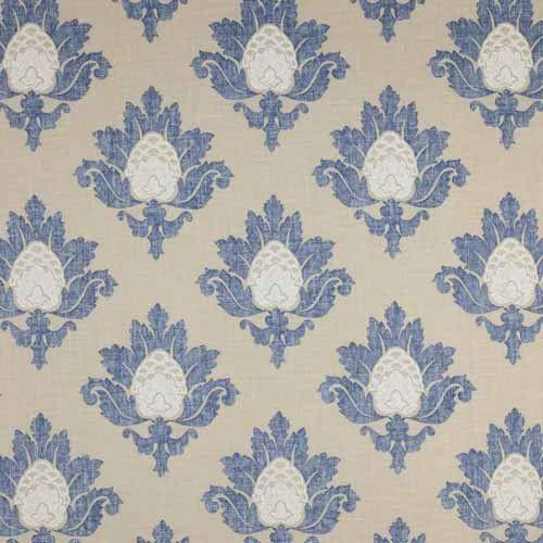 Jane Churchill Bruton Damask Blue/Beige - Curtain Poles Emporium