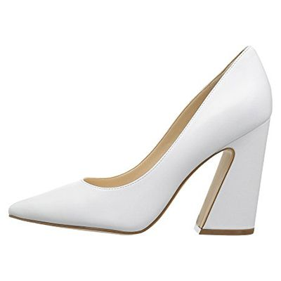 Nine West Henra Pump - white heels, white pumps, white block heel pumps, white pointed heels, white pointy toe heels