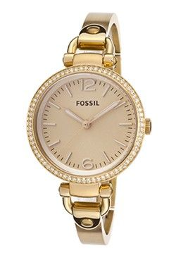 Fossil Women's Gold Tone Textured Dial Gold Tone IP from WorldofWatches.com.  Get your rebate from RebateGiant.