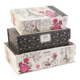 Paris Romance by Tri-Coastal Designs Pretty Storage Boxes - Eiffel Tower Paris Inspired Large Gift Boxes