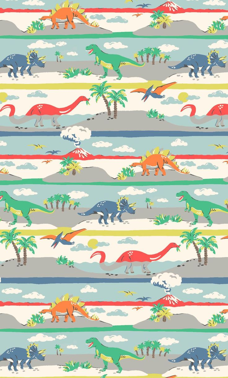 Dino Stripe | Little dinosaur fans will love our gang of colourful characters, from Stegosaurus to Triceratops, Pterodactyl to T-Rex, and can choose from scenic stripe and cool stamp designs. Rooaaar! | Cath Kidston Autumn Winte 2016