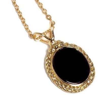 14K Gold Filled statement necklace with Braided oval pendant inlaid with Black Onyx Free Shipping 14K Gold plated necklace with oval pendant #etsymnt #bestofEtsy