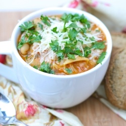 Pasta Fagioli Soup with bacon and fresh parsley.