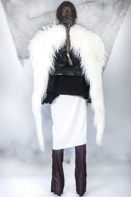 #ALMAZ Leather Embrodery Lace Jacket /// Mongolian Lamb Accessory /// Bordeaux Leather Leggings
