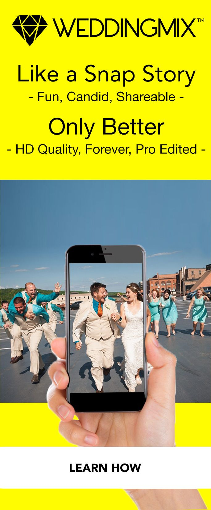 Turn your wedding snap story up a notch, and a lasting memory from your snapchat filter! Get all the fun, candid, shareable moments in a pro-edited, wedding video that you can watch every anniversary.