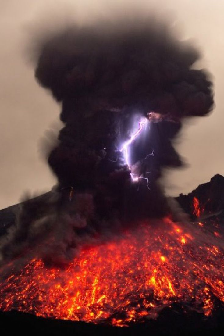 Volcanoes erupting lava with lightning