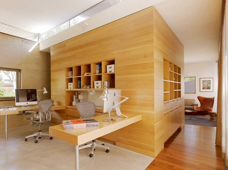Desk Office Design with modern wood accented