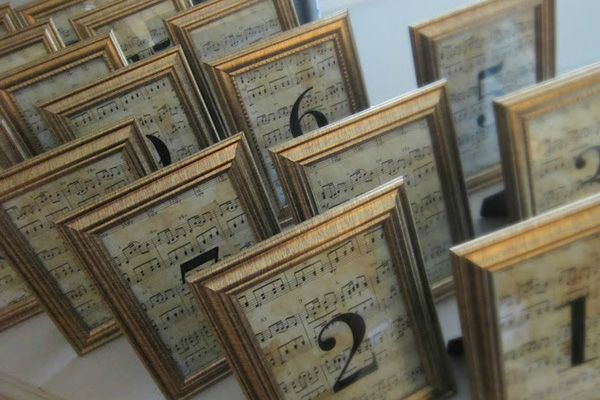 Peruse your local store for sheet music and simple picture frames. Age the sheet music with tea bagsfor the perfect table numbers for your vintage wedding.