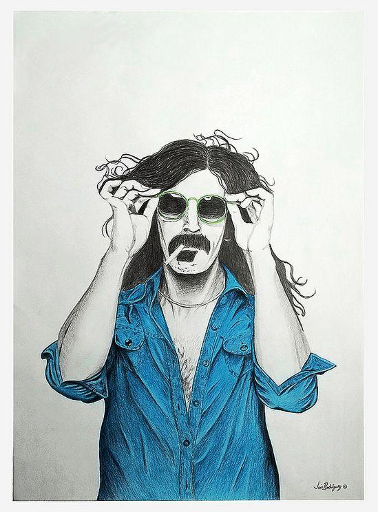 Frank Zappa 70cm x 50 cm  Lápiz y colores