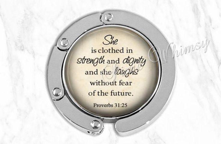 BIBLE Purse Hook Purse Hanger Purse Holder Bag Hook Accessory, Handbag Hanger, Tote Bag Hanger, Proverbs 31 25, She Is Clothed In Strength