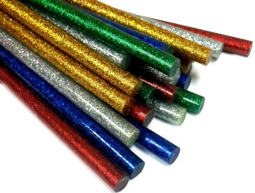 COLOR Glitter Hot Melt Mini Glue Sticks - Pack of 50 (blue, red, green, silver, gold) I gotta give these a try!!!