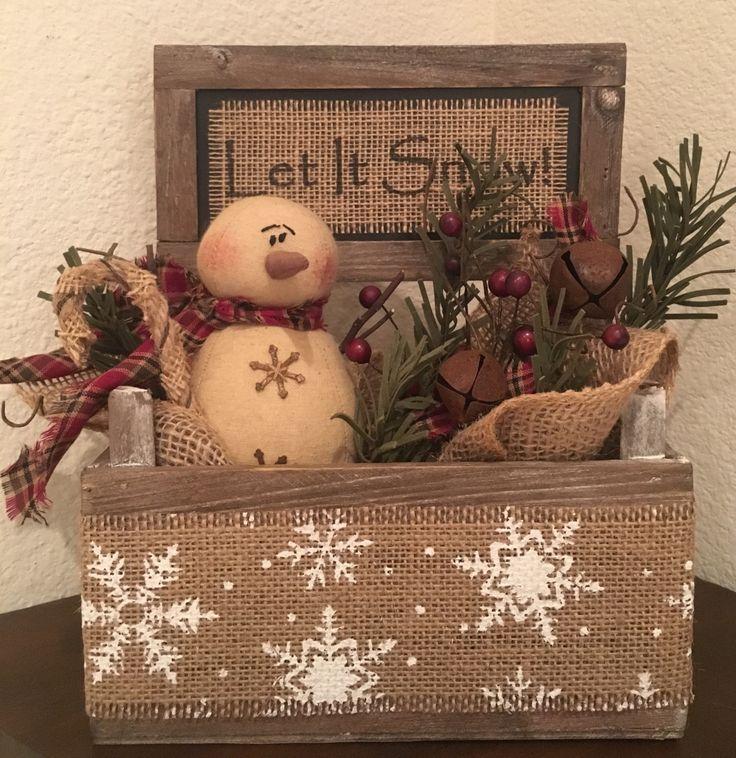 Primitive Christmas Honey and Me Snowman Let It Snow Barn Wood Box Centerpiece by PrimitivePics on Etsy