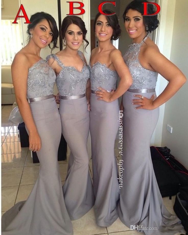 Wholesale 2015 Mermaid Bridesmaid Dresses Belt Gray vestido de madrinha Sheer Beaded Appliques Four Styles Long Gowns Sexy Maid of Honor Bridal Gowns, Free shipping, $106.81/Piece | DHgate Mobile