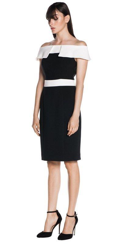Dresses  | Off The Shoulder Contrast Dress