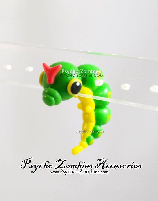 Caterpie from pokemon fake plug (stud earring) by ~Initta on deviantART