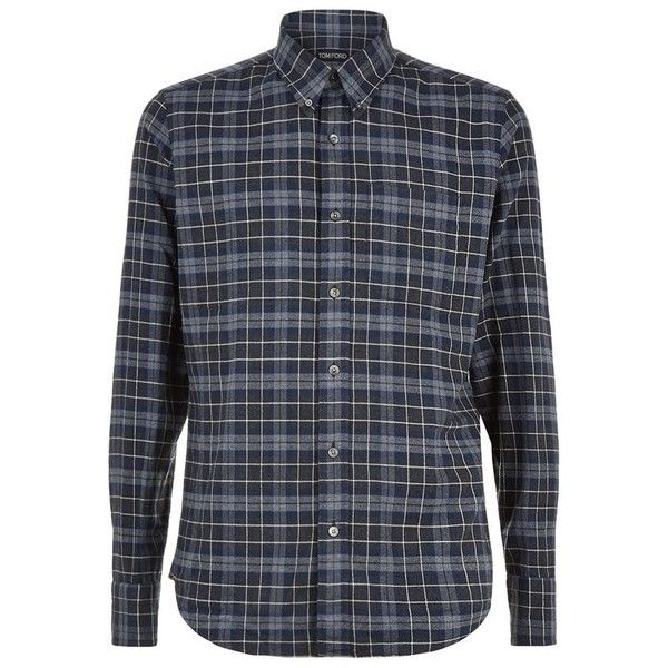 TOM FORD Flannel Checked Shirt (£295) ❤ liked on Polyvore featuring men's fashion, men's clothing, men's shirts, men's casual shirts, mens checked shirts, mens flannel shirts, tom ford mens shirts and mens checkered shirts