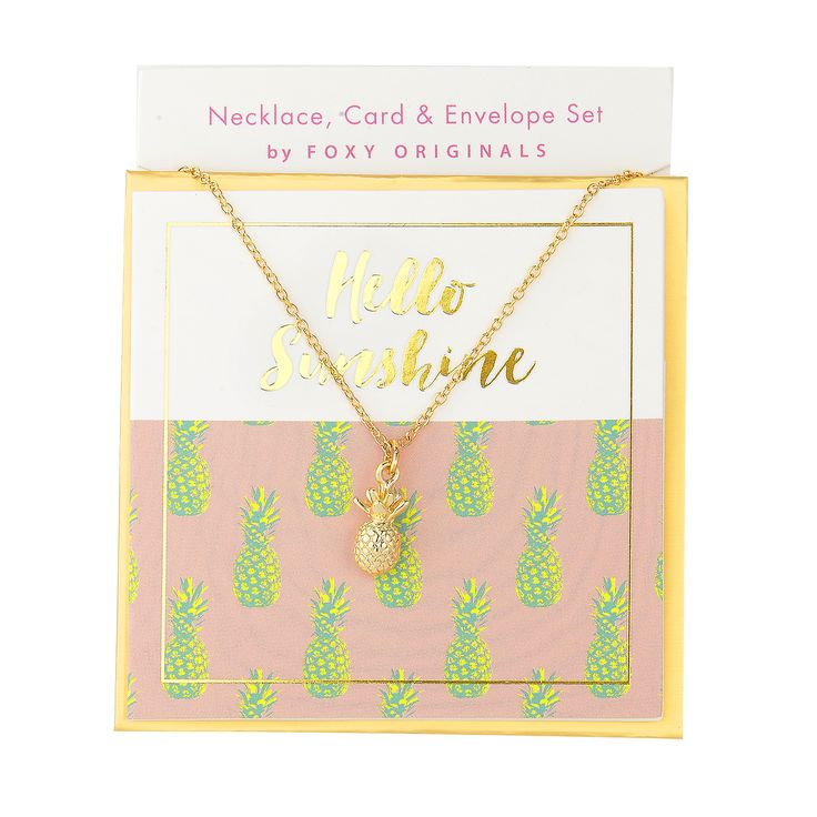 Hello Sunshine Sweet Notes Necklace in Gold - available in gold and silver. $24.00. Get 25% off this necklace with coupon code 'foxypin' @ foxyoriginals.com, #goldnecklace, #shortnecklace, #goldjewelry, #charm,  #jewelrygift, #gift, #birthdaygift, #teenagergift, #pineapplenecklace #nickelfree #leadfree #madeinCanada