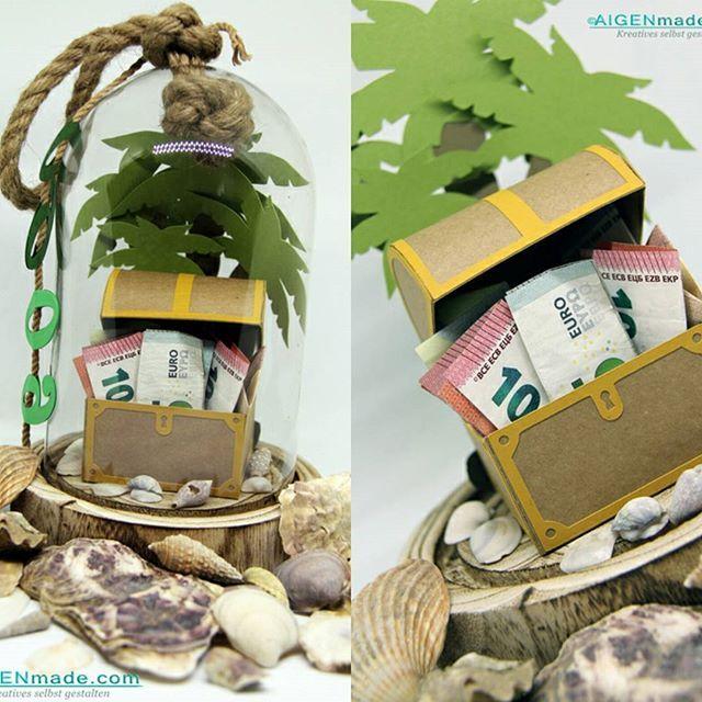 Geldgeschenk zum 60. Geburtstag in der Glaskuppel zum Thema Segeln mit Insel, Palmen, Schatzkiste und Muscheln  #Aigenmade #verpackung #geburtstag #kreativezeit #geschenksideen #Geldgeschenk #segeln #schatzkiste #papterie