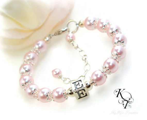 Initial Baby Bracelet Choice of Color by KyKysTreasures on Etsy