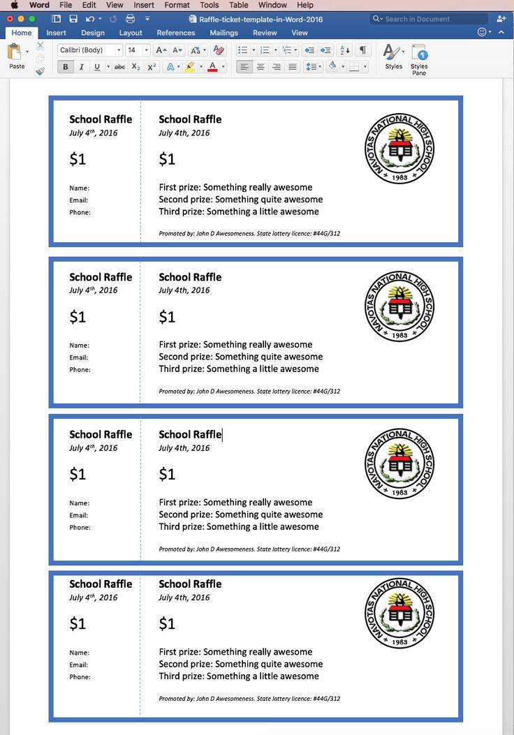 Create printable raffle tickets in Word