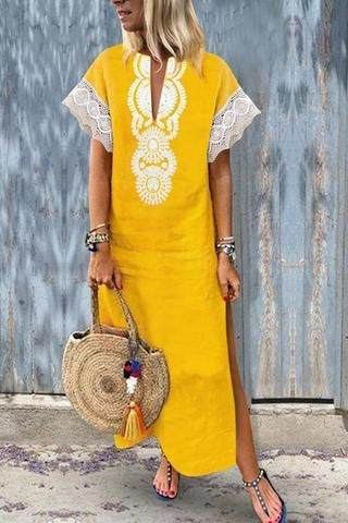 Fashion Cotton/Line Lace Causal Vintage Dress Maxi Dress