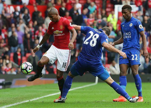 Ashley Young of Manchester United in action during the Premier League match between Manchester United and Leicester City at Old Trafford on September...