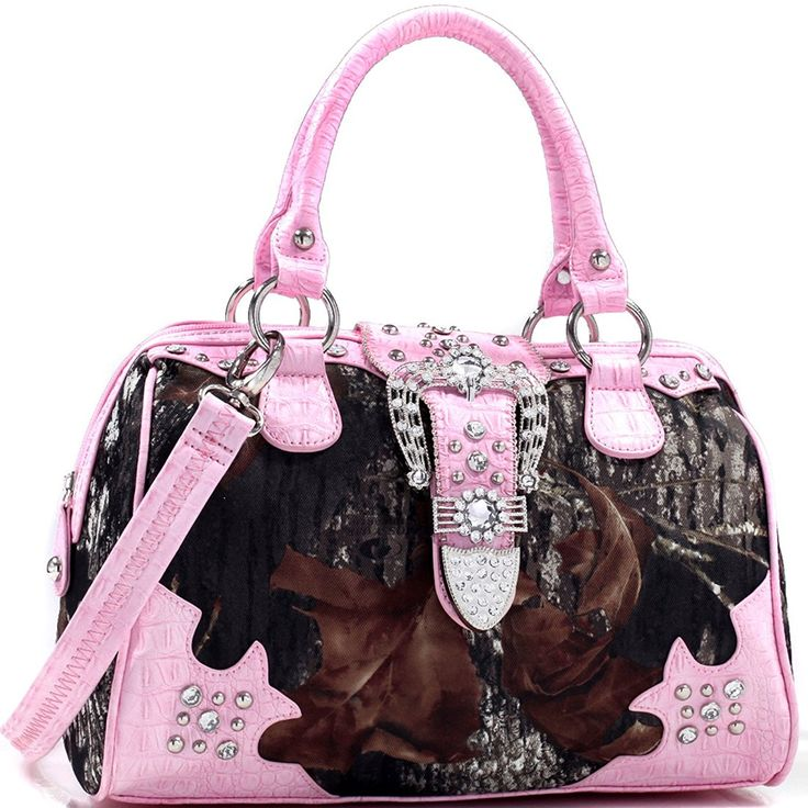 Mossy Oak Camo Rhinestone Studded Buckle Western Tote Bag with Faux Croc Trim >>> Read more at the image link.