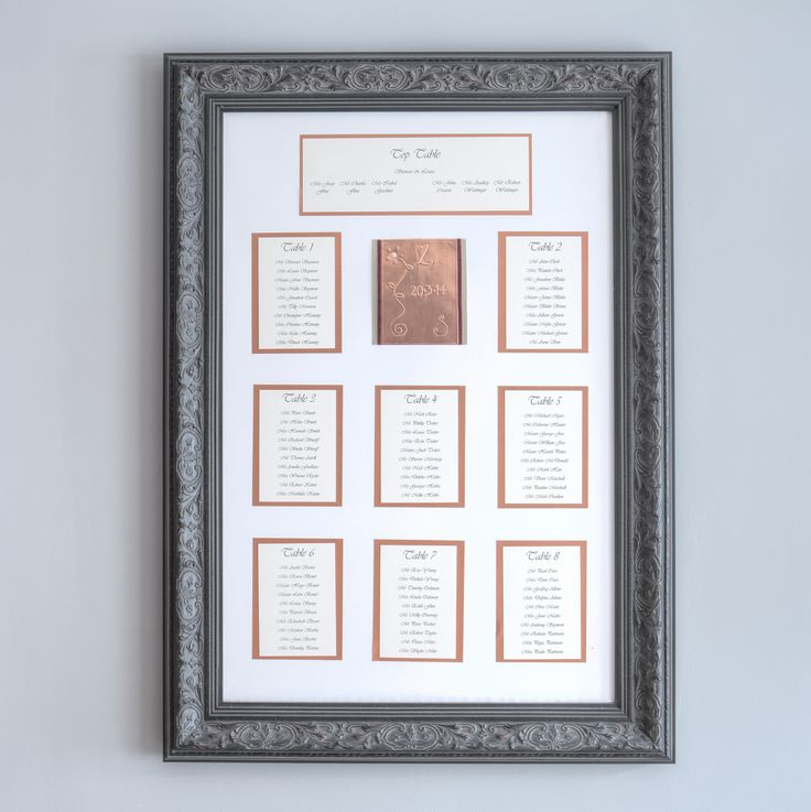 The Table Plan is made using a Winsor & Newton Fine Detail canvas and beautifully framed by Andy, our local framer. There are four colour choices - Cream, Black, Gold & Pewter