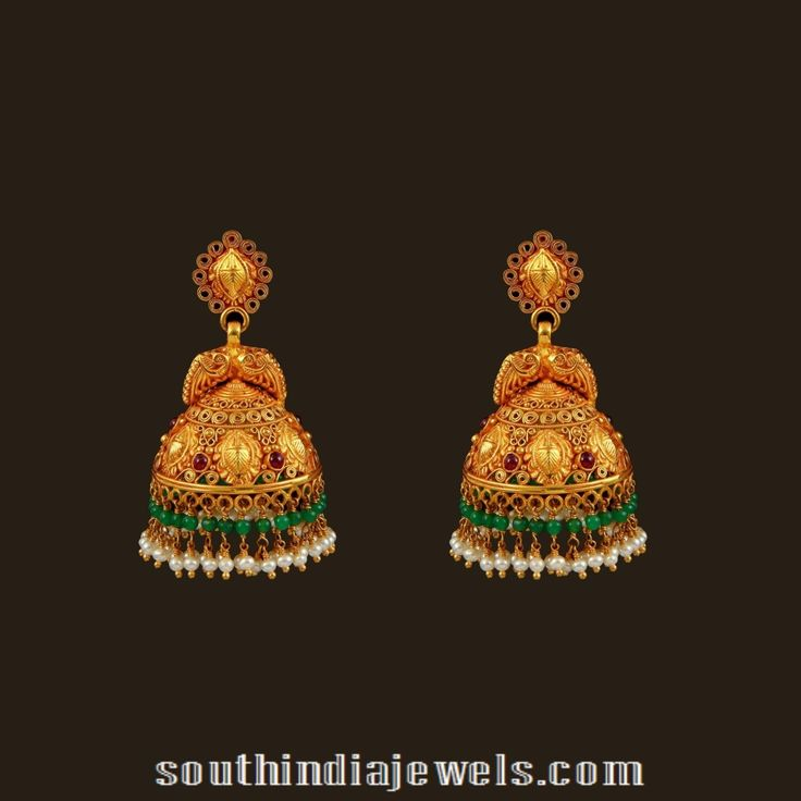 Gold Bridal Antique Jhumka From Vbj Jhumkas Collections