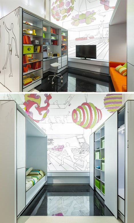 Borrowed from Libraries: Mobile Shelving for Modular Rooms