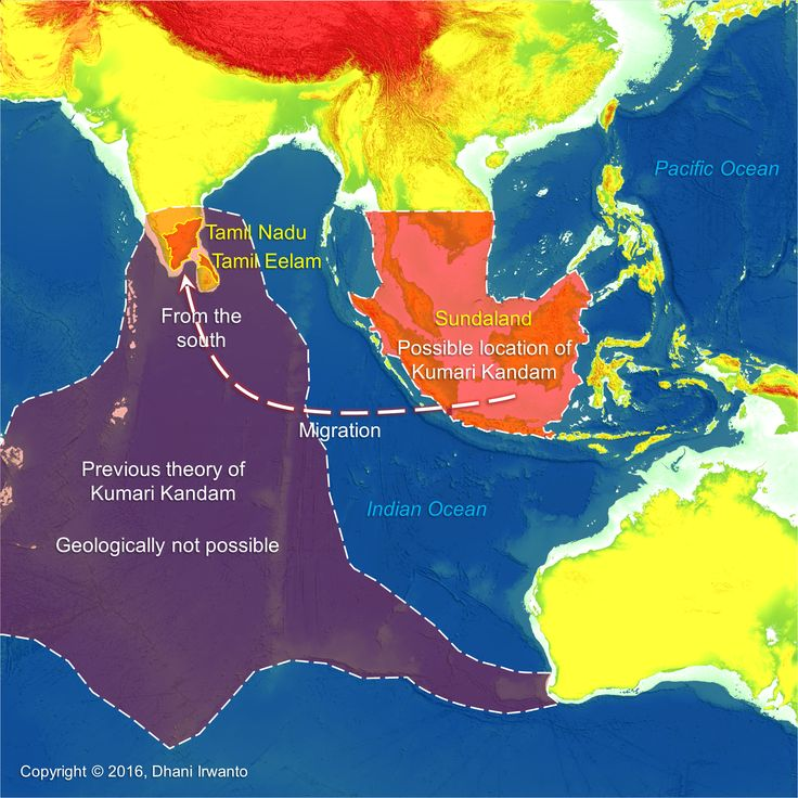 Kumari Kandam refers to a hypothetical lost continent with an ancient Tamil civilization, located south of present-day India, in the Indian Ocean.  More at   https://atlantisjavasea.com/2016/04/09/kumari-kandam/                                                                                                                                                                                 More